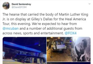 Tweet from David Sentendrey – The hearse of Martin Luther King, Jr.